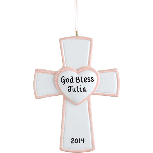 Personalized Cross Ornament, Pink