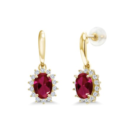 Ruby Diamond Huggie Earrings (2.05 Ct Oval Red Created Ruby I/J Lab Grown Diamond 10K Yellow Gold)