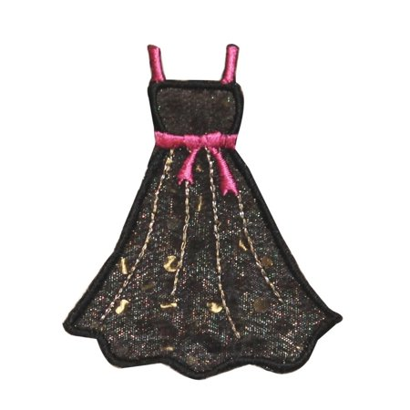 ID 0145 Black Prom Dress Patch Pink Spaghetti Strap Embroidered Iron On - Pink Spaghetti