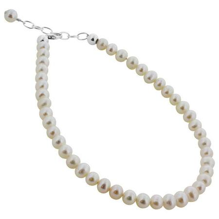 Gem Avenue 927 Silver 6mm White Potato imitation Pearls Bracelet & Swarovski Elements (7 - 8 inch Available)