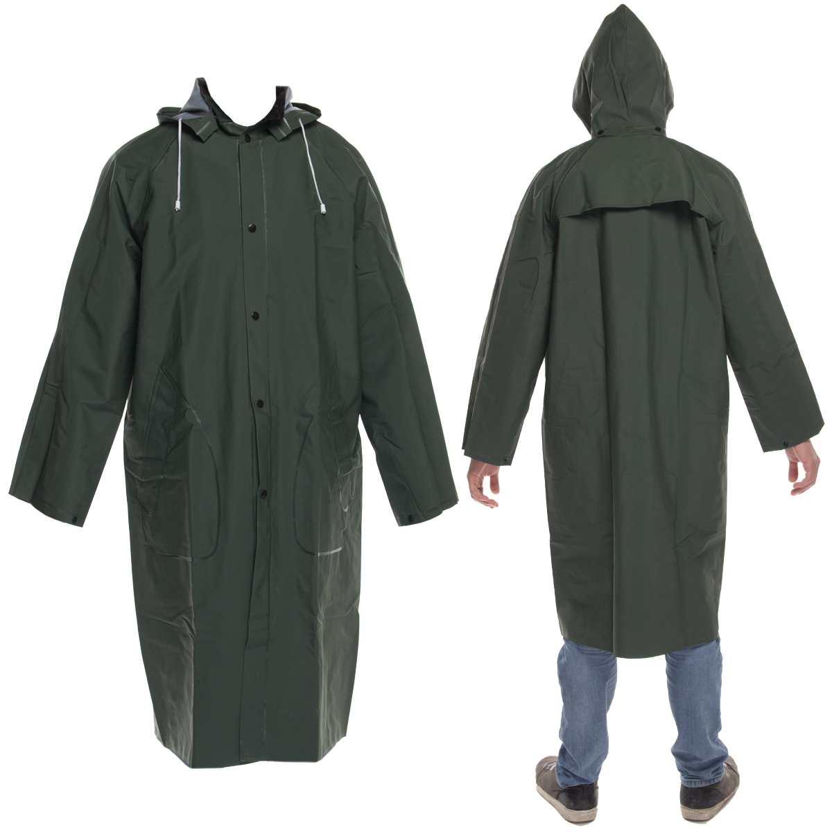 DiamondTitanMens Waterproof Long Raincoat With Removable Hood PVC Protection