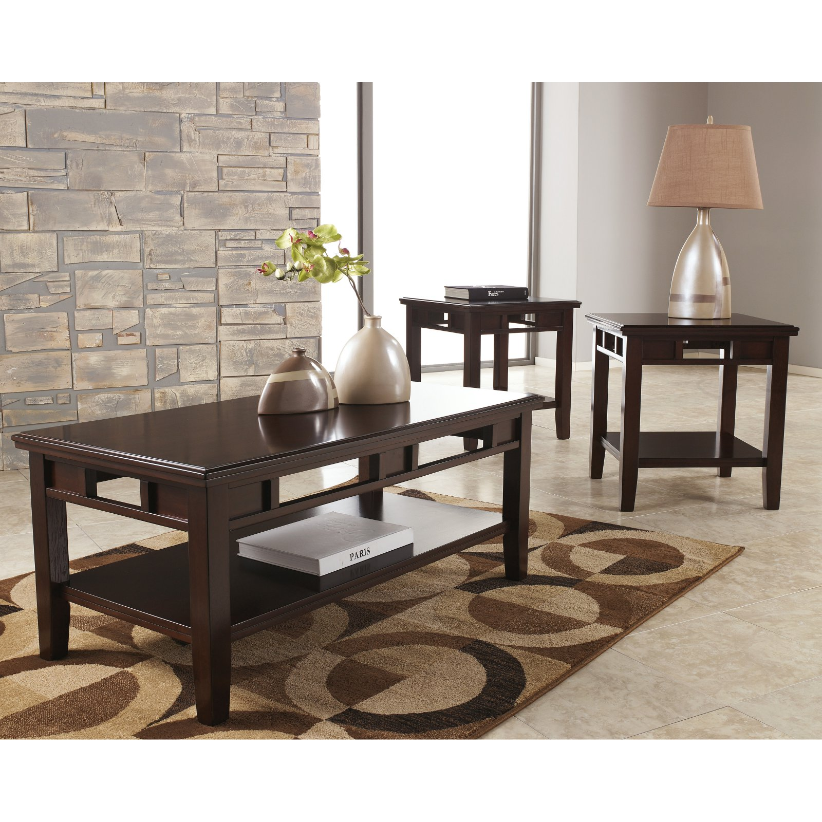 Wonderful Signature Design By Ashley Logan 3 Piece Coffee Table Set