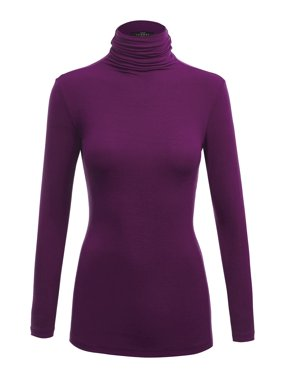 0283cd339de26 Product Image MBJ WSK1030 Womens Long Sleeve Ribbed Turtleneck Pullover Sweater  S WINE