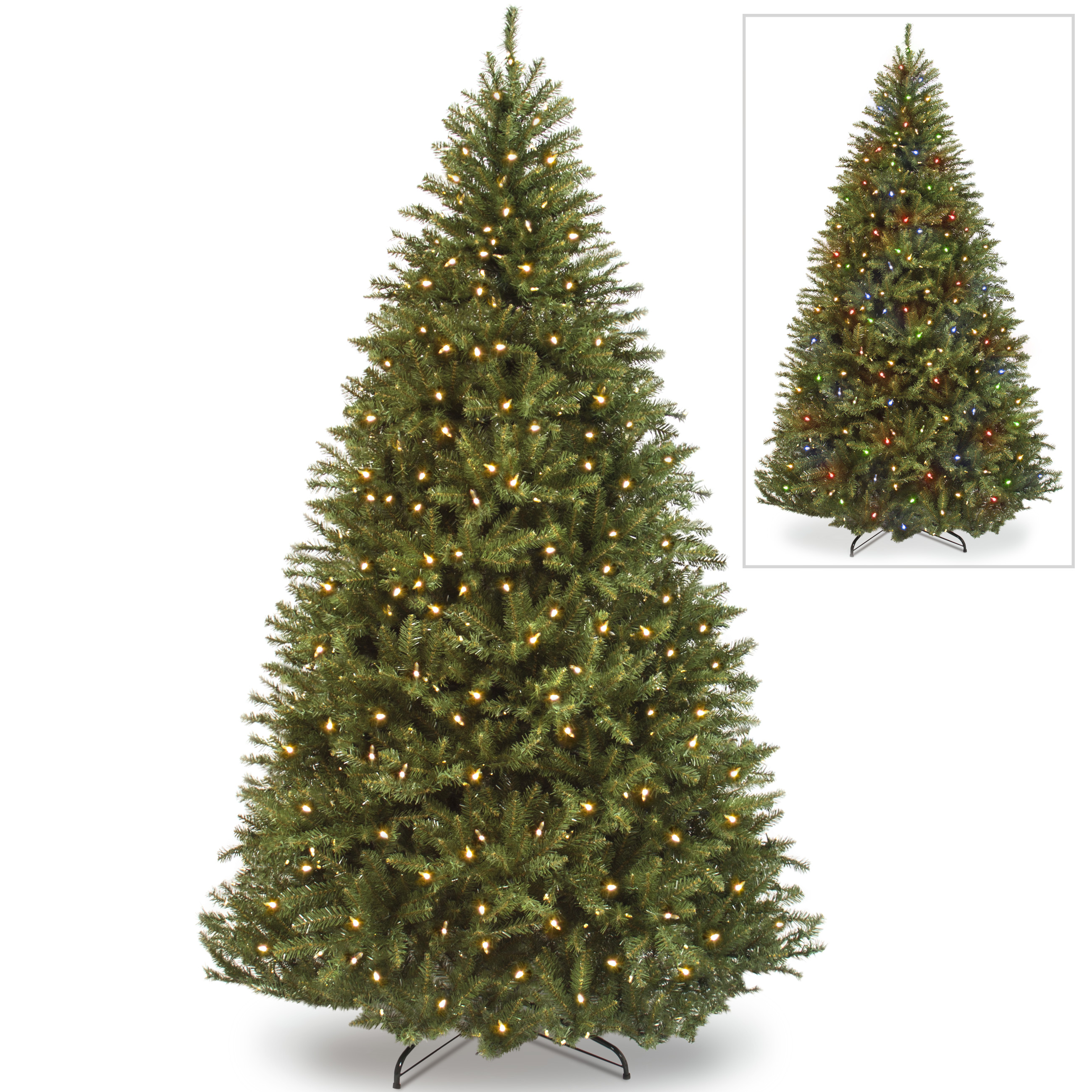 Best Choice Products 7.5ft Pre-Lit Fir Hinged Artificial Christmas Tree w/ 700 Dual Colored LED Lights, Adjustable White and Multicolored Lights, 7 Sequences, Foot Switch, Stand - Green