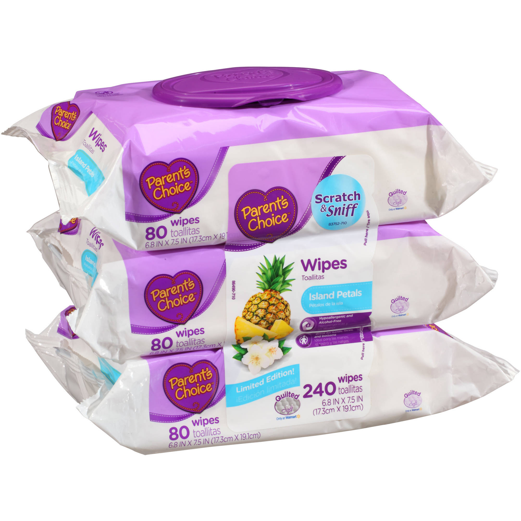 Parent's Choice Island Petals Wipes, 80 sheets, (Pack of 3)