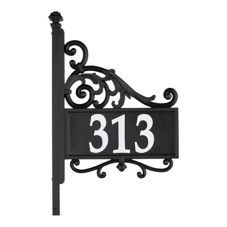 Whitehall Reflective Address Post Sign - Nite Bright House Number Plaque - Pole Adjusts 41