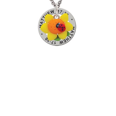Bug Necklace (Fimo Clay Sunflower with Ladybug Matthew 17:20 Affirmation Ring)