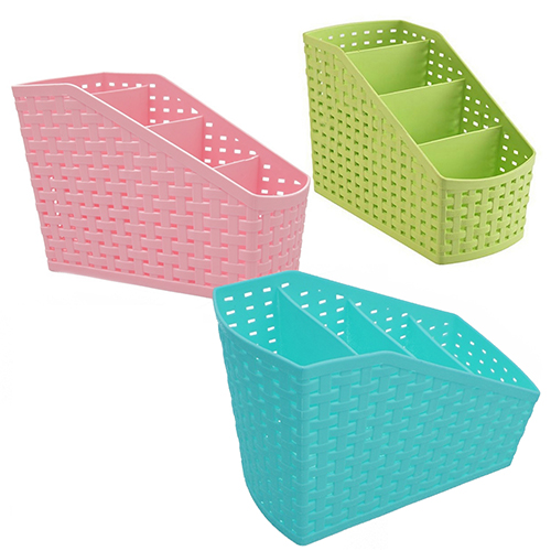 Micelec Plastic 4 Grids Desktop Display Office Box Storage Case Cosmetic Organizer Holder