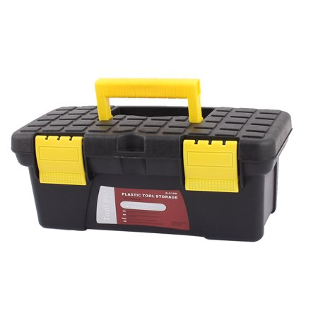 Unique Bargains Electrician Engineer Plastic Dual Layers Tools Hardware Storage Box Black Yellow