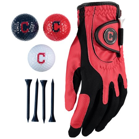 Cleveland Golf Shirts - Cleveland Indians Golf Balls, Tees & Glove Set - No Size