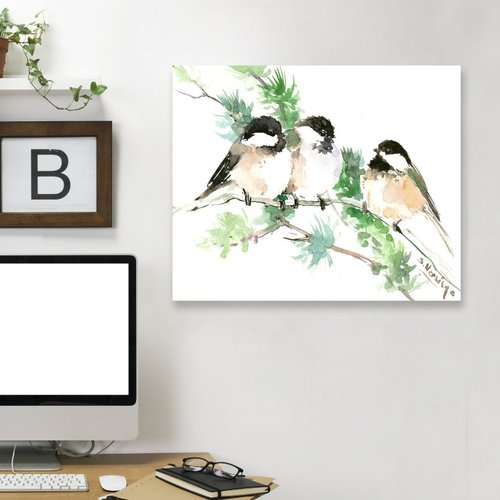 East Urban Home 'Chickadees' Painting Print