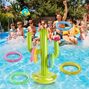 PVC Inflatable Cactus Ring Toss Game Set Floating Pool Toys Beach Party Supplies