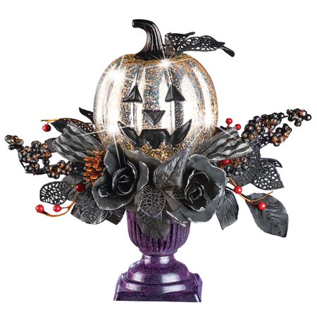 Lighted Spooky Silver Pumpkin and Black Foliage Centerpiece in Purple Pot Tabletop Halloween Decoration