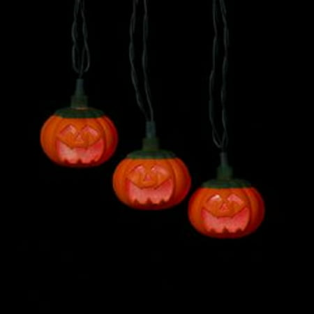 set of 10 light up the night smiling pumpkin led novelty halloween lights