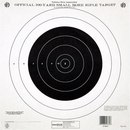 Champion Traps and Targets GTQ4 NRA Target, 100 Yard Single Bullseye, 12pk ()
