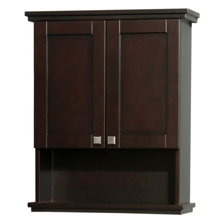 (Wyndham Collection Acclaim Solid Oak Bathroom Wall-Mounted Storage Cabinet in Espresso)
