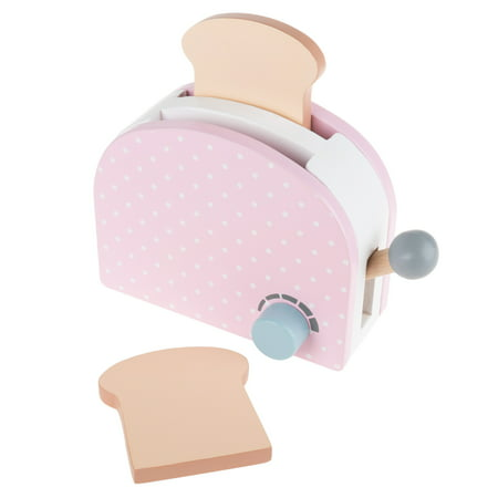 Pretend Play Toaster – Pastel Wooden Appliance with 2 Pieces of Toast, Toasting Dial and Pop Up Lever by Hey! Play!
