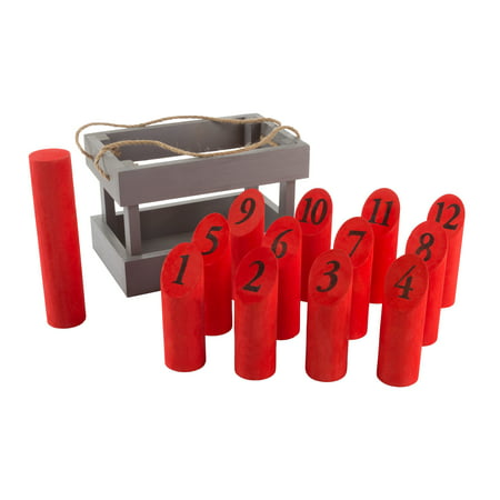 Wooden Throwing Game-Complete Set, 12 Numbered Pins, Throwing Dowel, Carrying Crate-Outdoor Lawn Games For Adults and Kids by Hey! Play! (Red/Gray)](Adult Outdoor Games)