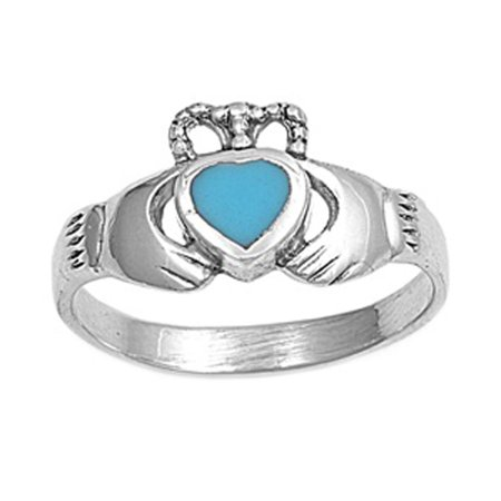 CHOOSE YOUR COLOR Claddagh Simulated Turquoise Heart Promise Ring New .925 Sterling Silver Band