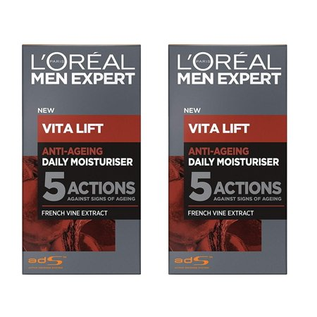 L'Oreal Men's Expert Vita Lift Anti Aging Daily Moisturizer, 50 ml (1.7 Oz) (Pack of 2) + Cat Line Makeup (Skin Care Experts Microcurrent Face Lift Reviews)