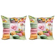 Colorful Throw Pillow Cushion Cover Pack of 2, Traditional French Desert Macaroons Themed Collage with Coffee Gourmet Print, Zippered Double-Side Digital Print, 4 Sizes, Multicolor, by Ambesonne