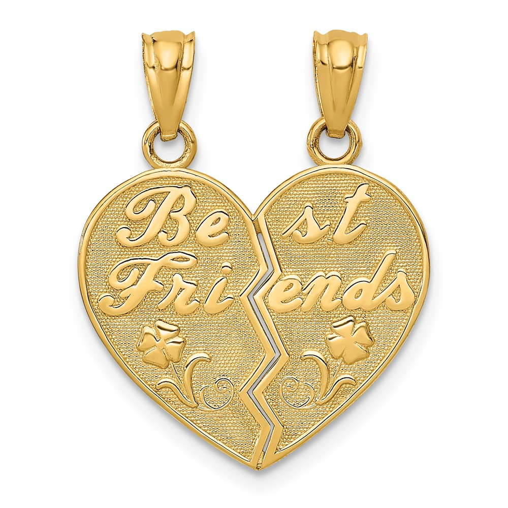14k Yellow Gold Best Friends Heart Break Apart Pendants