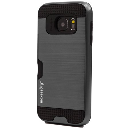 Samsung Galaxy S7 Case Maxessory [Enhanced] Thin Rigid Tough Reinforced Protective Armor Cover W/ Reinforced Bumper Easy-Access Card Holder For Samsung Galaxy S7