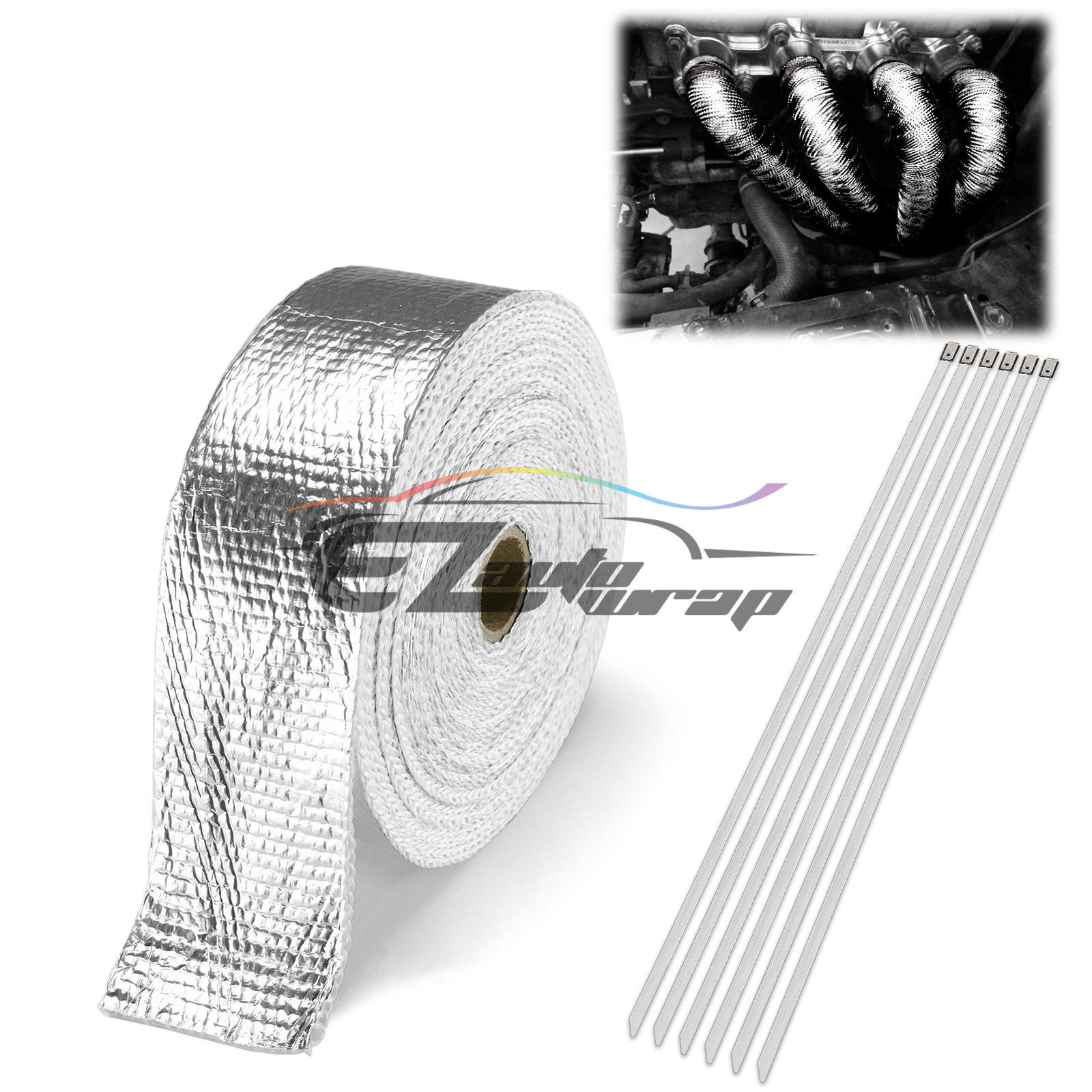 """2"""" x 50' Exhaust Pipe Insulation Thermal Heat High Temperature Wrap Motorcycle Header + 6 Tie by EZAUTOWRAP"""