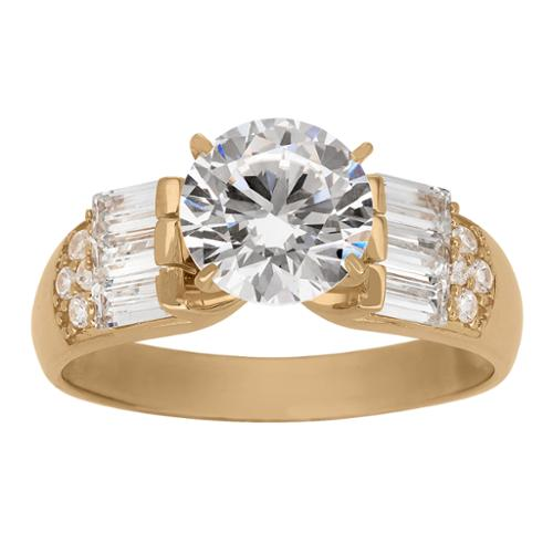 Gioelli Designs  10k Yellow Gold 8mm Round with Baguette Cubic Zirconia Side Stone Ring