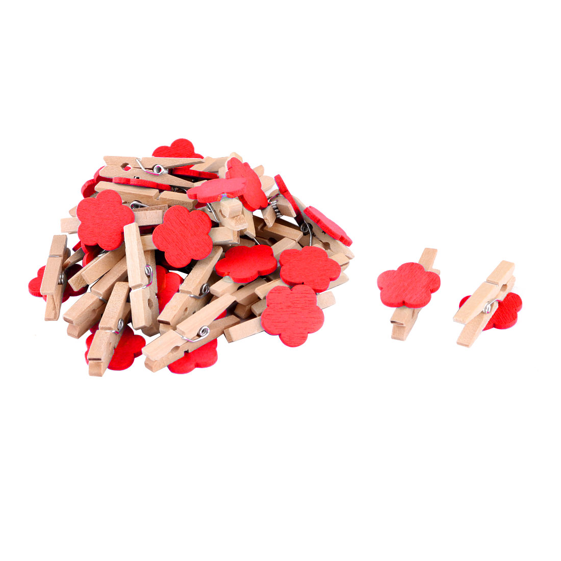 Household Wooden Flower Shape DIY Crafts Card Photo Decor Peg Clip Red 30pcs