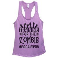 "Womens Basic Tank Top ""Training for the Zombie Apocalypse"" Walking Dead Shirt Gift Large, Fuchsia"