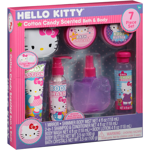 Hello Kitty Cotton Candy Scented Bath & Body Gift Set, 7 pc