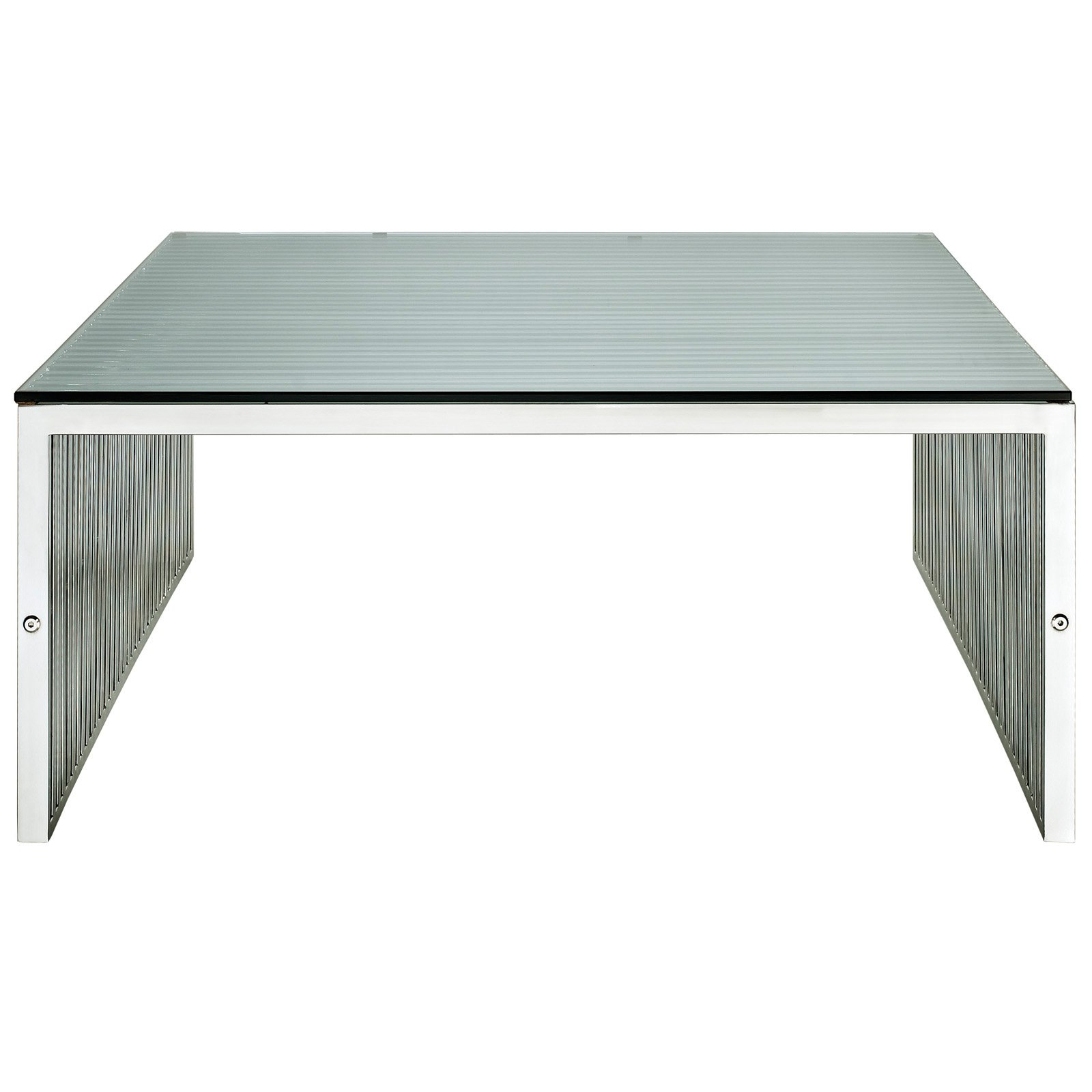Modway Gridiron Stainless Steel Coffee Table with Glass Top in