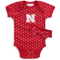 Nebraska Cornhuskers Girls Newborn & Infant Hearts Bodysuit and Headband Set - Scarlet