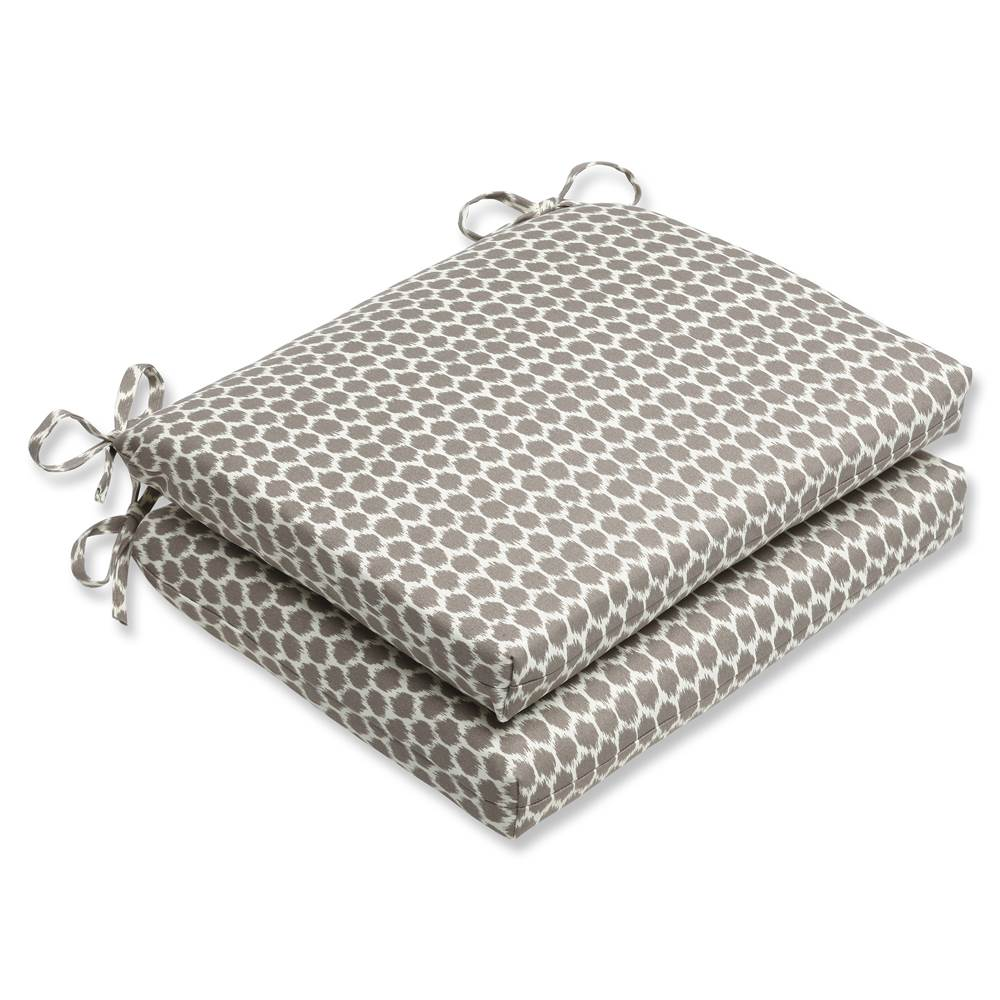 Pillow Perfect Outdoor/ Indoor Seeing Spots Sterling Squared Corners Seat Cushion (Set of 2)