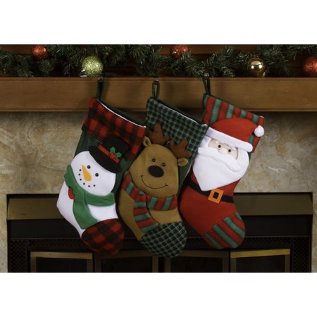 "Christmas Stockings Holders – 18"" Fleece Plaid Santa Xmas Stockings 3 Pack"
