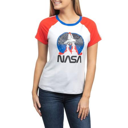 - Juniors' NASA Launch Americana Ringer Graphic T-Shirt