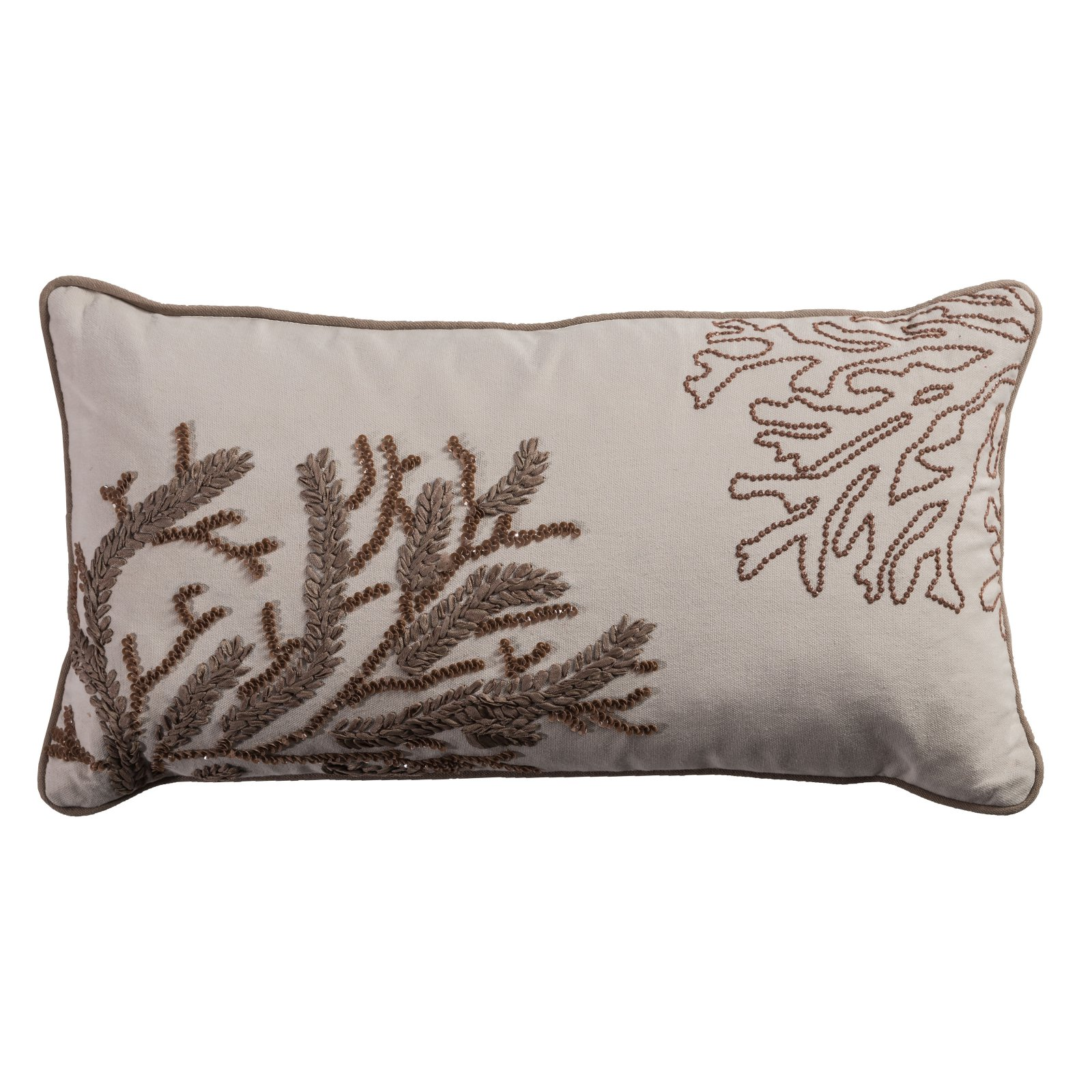 "Rizzy Home Decorative Poly Filled Throw Pillow Coastal 11""X21"" Natural"