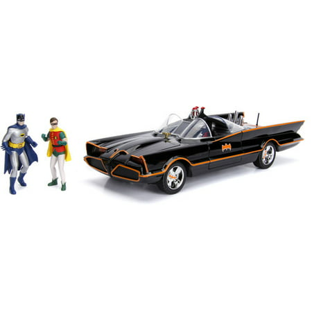 DC Comics Classic TV Series Batmobile Die-cast Car, 1:18 Scale Vehicle& 3 Batman & Robin Collectible Figurine