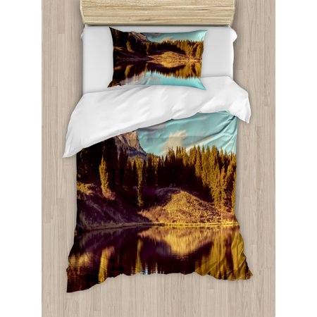 Aspen Tree Duvet Cover Set Twin Size, Picturesque Mountain Lake in Colorado Rural USA National Park View, Decorative 2 Piece Bedding Set with 1 Pillow Sham, Green Brown Pale Blue, by Ambesonne - Twin Lakes Park Halloween