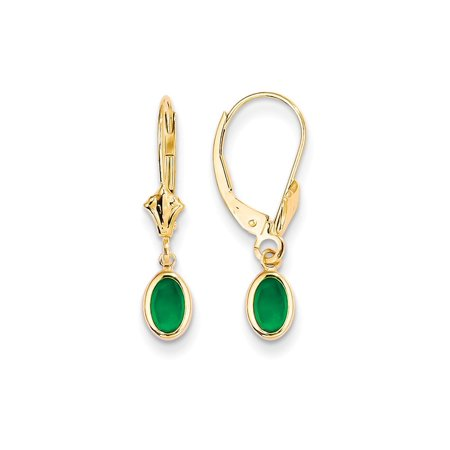 14k Yellow Gold 6x4 Oval Bezel May/emerald Leverback Earrings Lever Back Drop Dangle Birthstone May Gifts For Women For Her