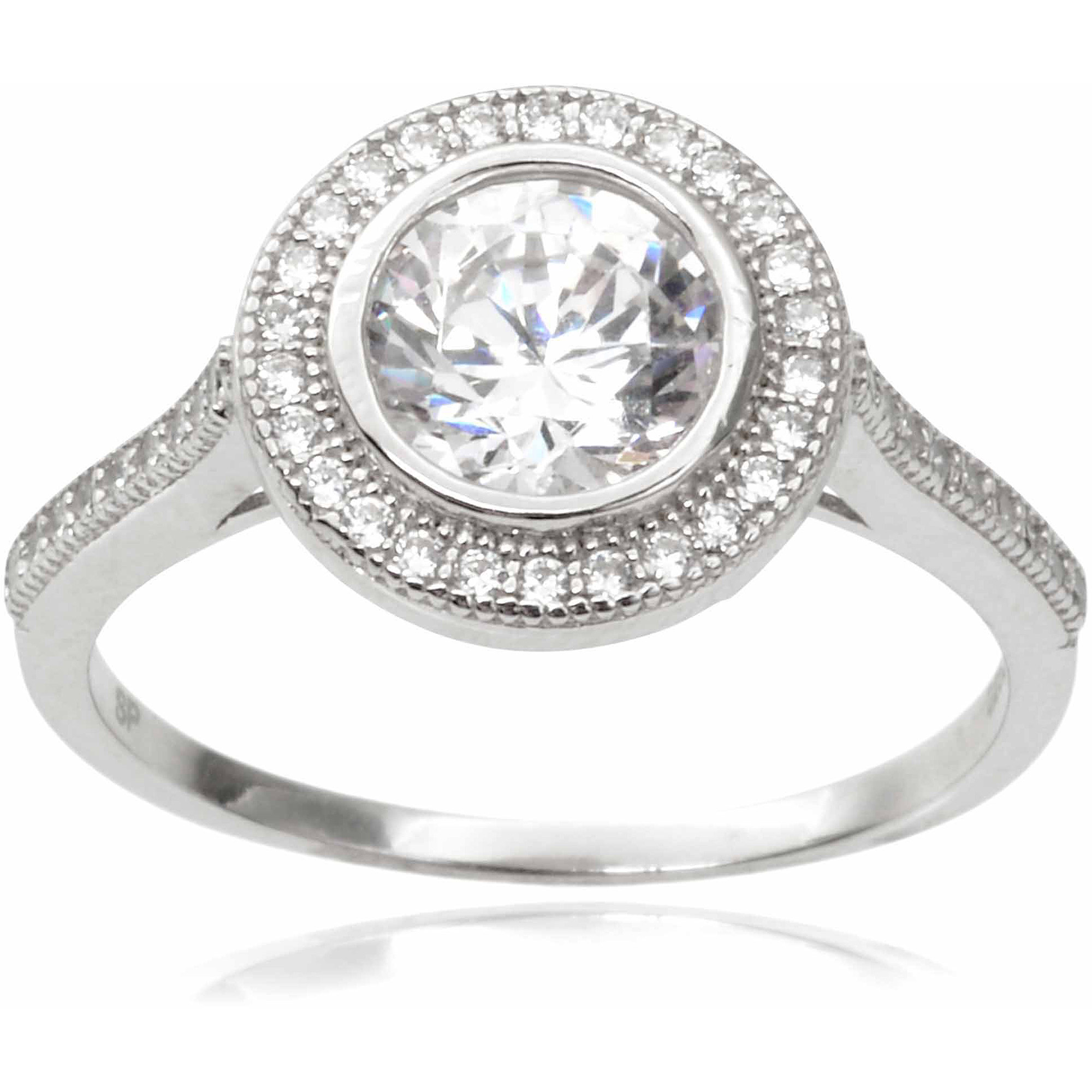 Alexandria Collection Women's Round Cut CZ Sterling Silver Engagement Ring