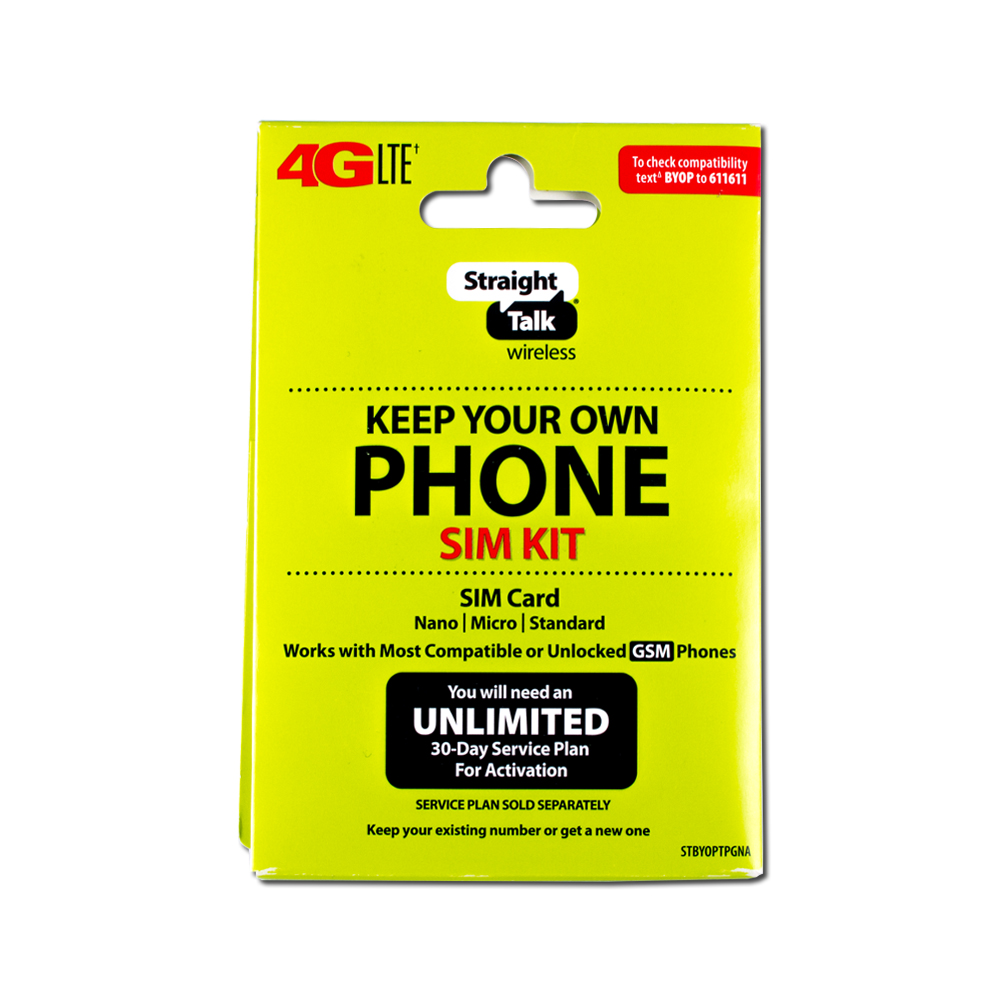 "Straight Talk 4G LTE ""Keep Your Own Phone SIM Kit"" SIM Card (AT&T and GSM-Compatible)"