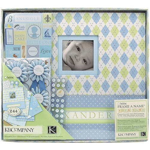 """K&Company Postbound Scrapbook Kit Boxed, 12"""" x 12"""", Little House Baby Boy"""
