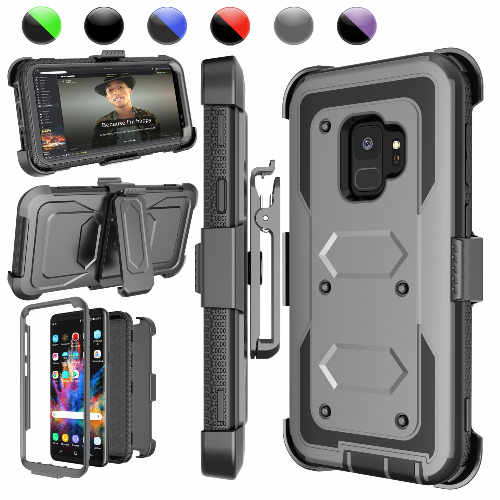 """Galaxy S9 Case, Galaxy S9 Holster Belt, Samsung S9 Clip, Njjex Full-body Rugged with Kickstand + Holster Belt Clip Carrying Armor Case Cover For Samsung Galaxy S9 5.8 """"[Ash Gray]"""