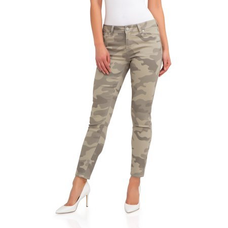 Women's Super Soft Mid Rise Skinny Jeans (Urban Camo Jeans)