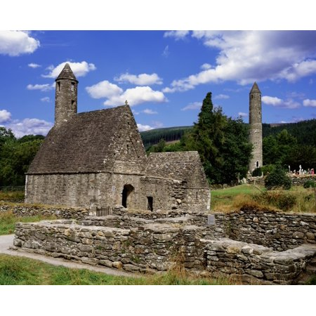Chapel Of Saint Kevin At Glendalough And Round Tower Glendalough Co Wicklow Ireland Canvas Art - The Irish Image Collection  Design Pics (15 x 12)