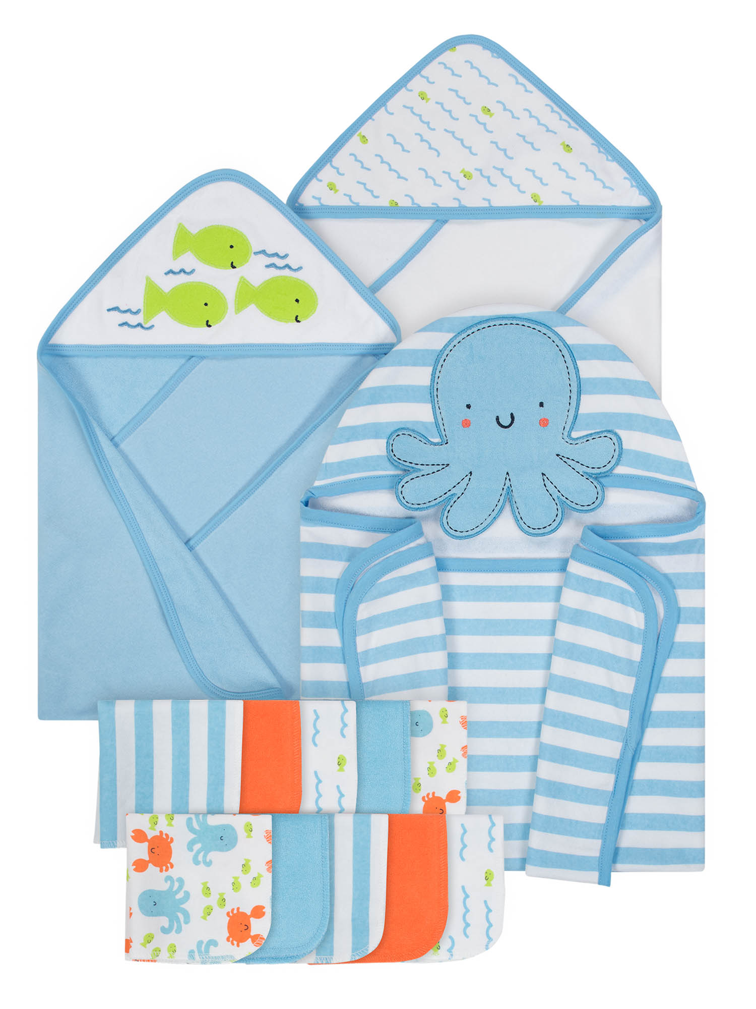 Gerber Baby Boy Hooded Bath Wrap, Hooded Towels & Washcloth Set, 13pc by Gerber