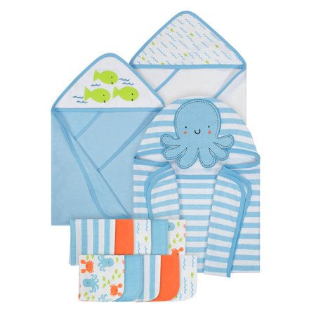 Gerber Baby Boy Hooded Bath Wrap, Hooded Towels & Washcloth Set, 13pc](Towels For Boys)