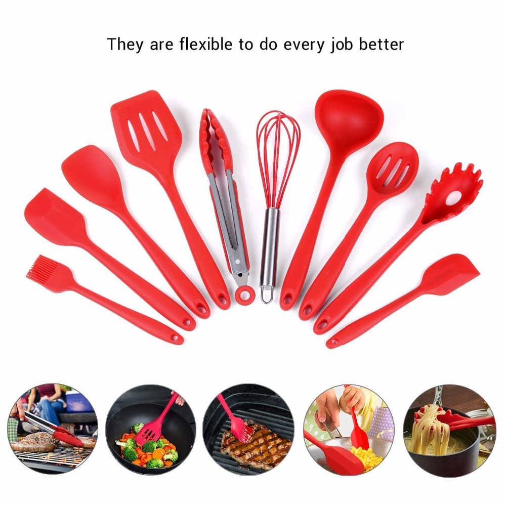 Cooking Utensil Set For Kitchen, 10 Pieces Silicone Kitchen Cooking Utensils With Hygienic Solid Coating,Heat Resistant Baking Spoonula,Brush,Whisk,Spatula,Ladle,Slotted Turner and Spoon,Tongs Red